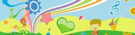卡通音乐背景展板图片