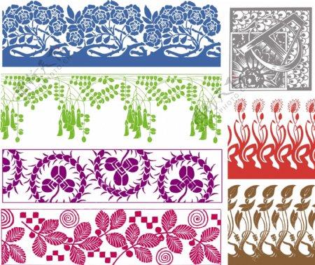 复古花卉对称图案图片