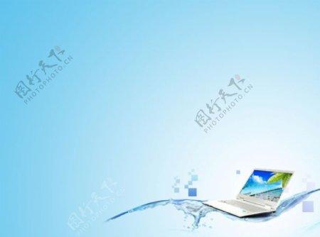 笔记本电脑背景科技PPT背景图片