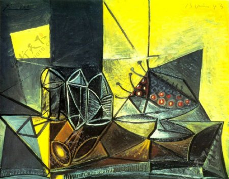 1943BuffetNaturemorteauxverresetauxcerises西班牙画家巴勃罗毕加索抽象油画人物人体油画装饰画