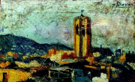 1903Paysagecatalan西班牙画家巴勃罗毕加索抽象油画人物人体油画装饰画