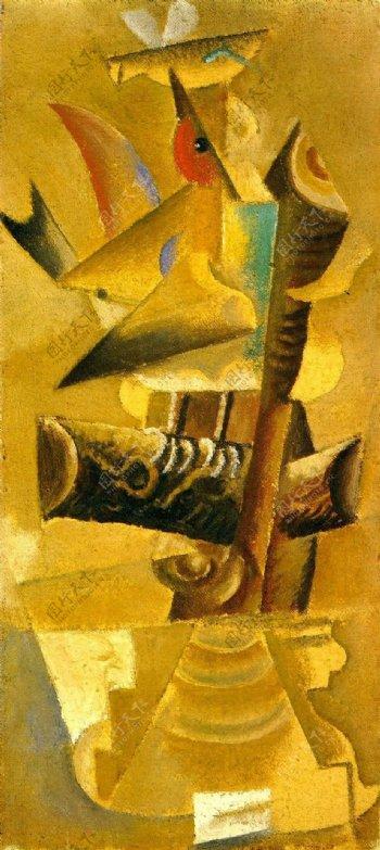 1913Oiseausurunebranche西班牙画家巴勃罗毕加索抽象油画人物人体油画装饰画