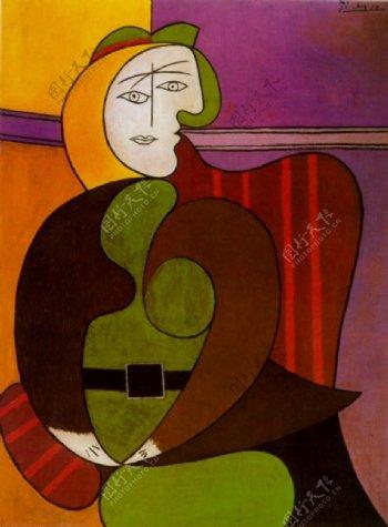 1931Lefauteuilrouge西班牙画家巴勃罗毕加索抽象油画人物人体油画装饰画