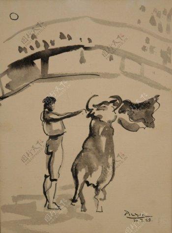 1959Letorero西班牙画家巴勃罗毕加索抽象油画人物人体油画装饰画