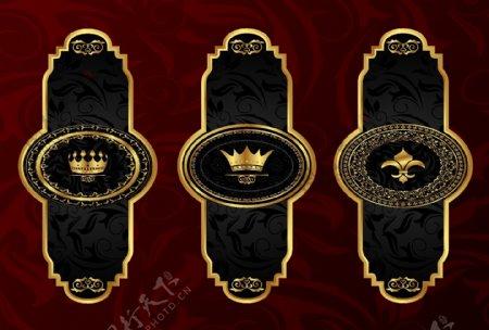 金色花纹花边框欧式标签豪华皇冠图片