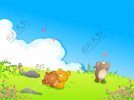 草地上两个小熊