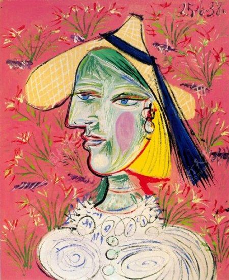 1938Femmeauchapeaudepaillesurfondfleuri西班牙画家巴勃罗毕加索抽象油画人物人体油画装饰画