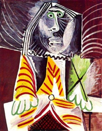 1969Hommeassis3西班牙画家巴勃罗毕加索抽象油画人物人体油画装饰画