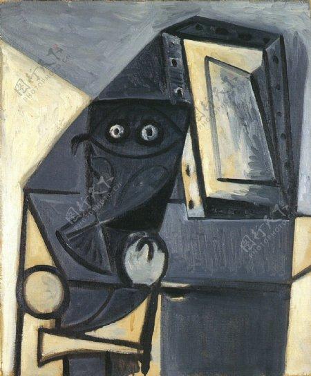 1947Hibousurunechaise2西班牙画家巴勃罗毕加索抽象油画人物人体油画装饰画