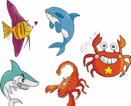 矢量鱼类螃蟹图片