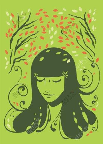 树荫下的可爱少女图片