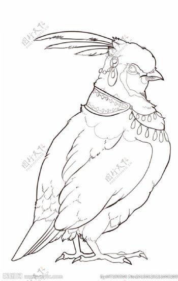 鸟线稿图片