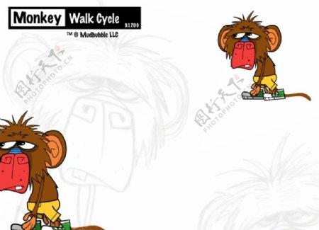 卡通狮子走路flash动画