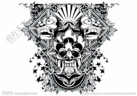 T恤花纹欧美纹身图片