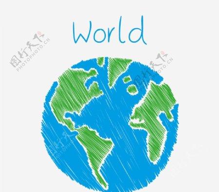 彩绘蓝色地球矢量图片
