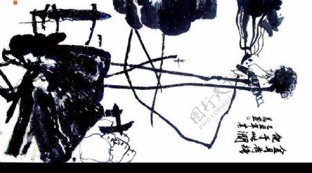 毛笔荷塘绘画书法图片