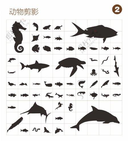 矢量鱼类剪影