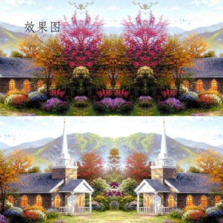 特效油画风景动态高清视频动画