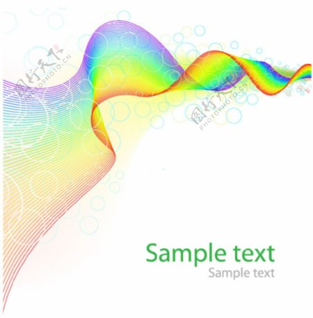 彩虹条带气泡曲线背景