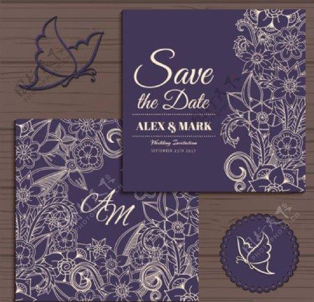 紫罗兰色花纹婚礼邀请函