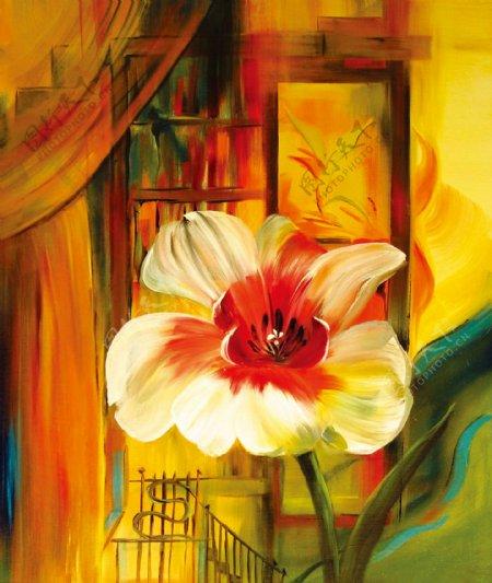 花朵建筑装饰画