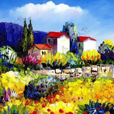 油画花朵建筑装饰画