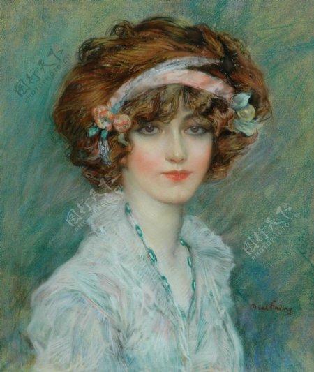 穿淡蓝色衣服的古代欧洲美女油画图片
