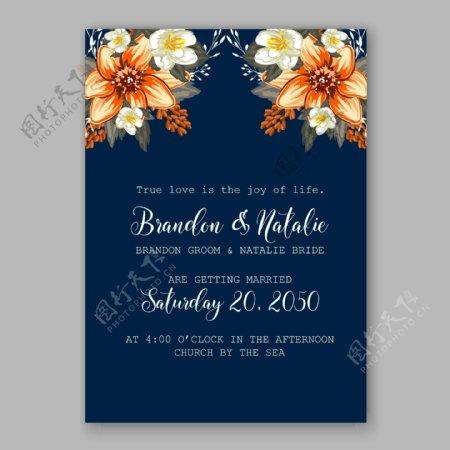 盛开的橙色花朵婚礼请贴矢量素材