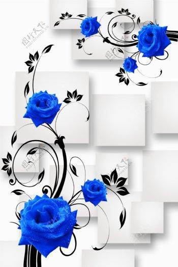 3D方片蓝玫瑰玄关挂画