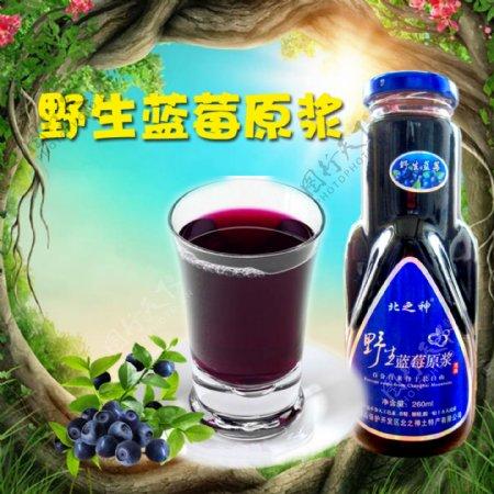 蓝莓汁森林背景光束