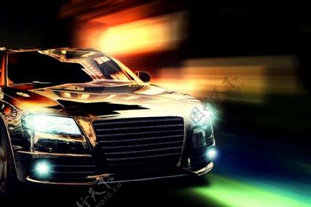 高速行驶的豪华轿车图片图片