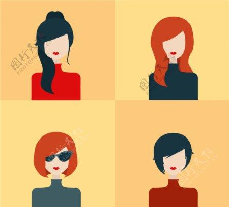 时尚女子头像设计矢量素材