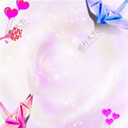 爱心千纸鹤花束高光粉色背景素材