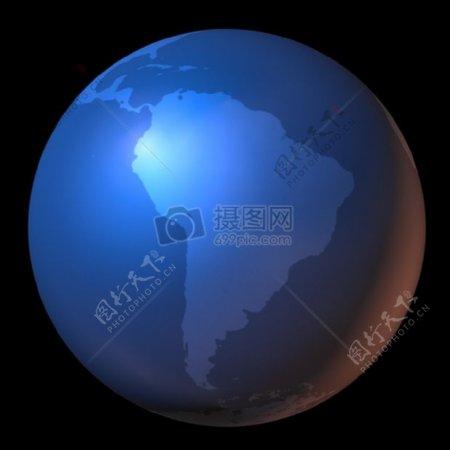 黑色背景下的地球