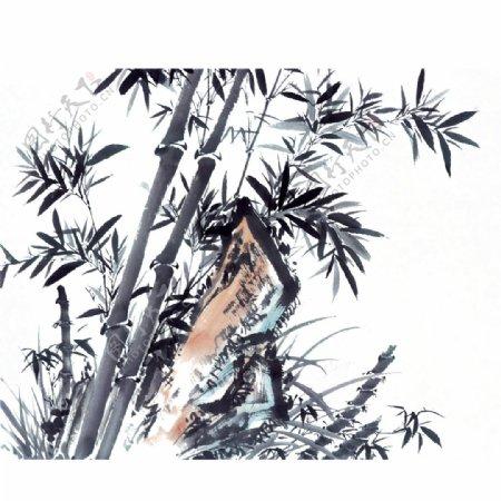 水墨竹画图