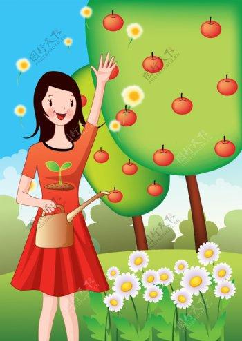 植树节灌溉苹果树的女性