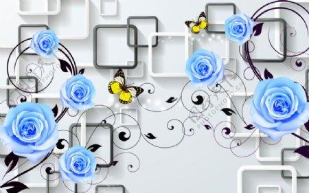 蓝玫瑰3D时尚背景墙