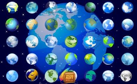 各式各类的地球矢量图下载