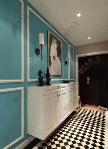 混搭室内蓝色背景墙设计图
