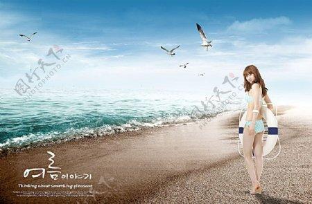 沙滩上的比基尼美女
