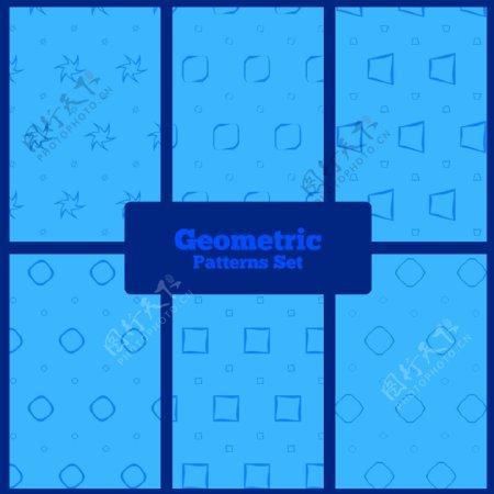 蓝色几何图形集