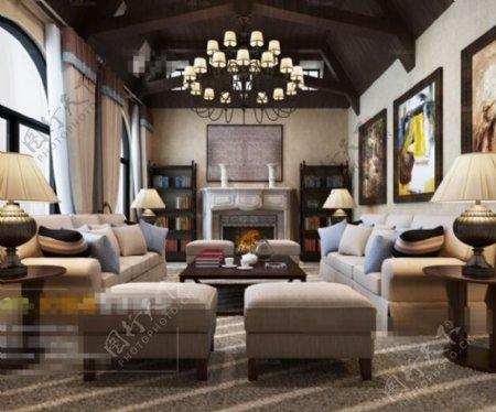 客厅空间华丽效果3D模型素材