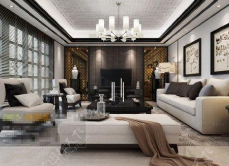 客厅空间3D模型素材免费下载