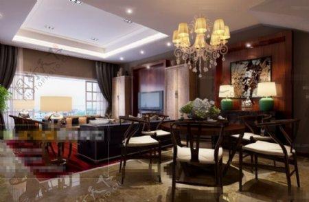 客厅空间摆设设计3D模型素材免费下载