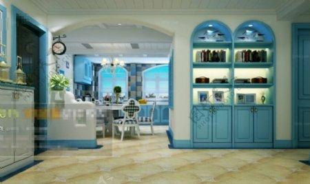 餐厅厨房空间3D模型素材