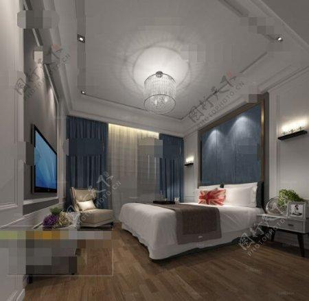 现代卧室床具组合3D模型素材免费下载