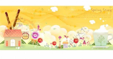 动漫插画各种花朵