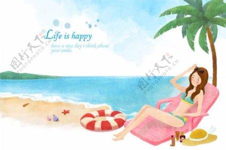 手绘比基尼美女海边度假水彩插画