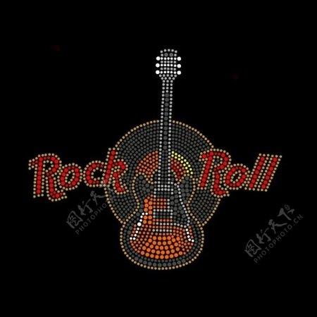 烫钻文字英文音乐元素吉他免费素材