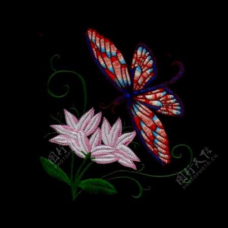 绣花植物花朵动物昆虫免费素材